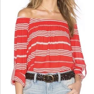 Faithfully the brand red white striped top